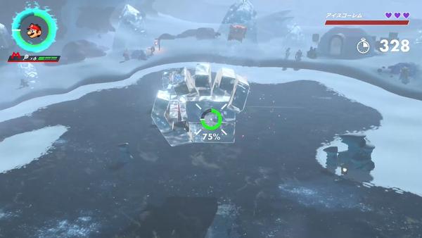 【マリオテニス エース 攻略】『コッチン雪山の頂上』雪山のボス「氷のバケモノ(アイスゴーレム)」勝ち方・クリア方法【ストーリーモード】