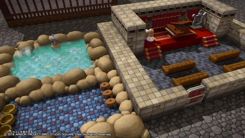 【ドラクエビルダーズ2】リゾートスパを作ろう/「あったか温泉」と「ミュージックホール」の部屋レシピは…【DQB2攻略】