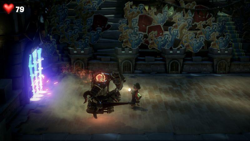 【ルイージマンション3 攻略】6階キャッスルフロア・矢の罠の回避方法・蜘蛛の巣を消す方法・橋を架け方・騎士のボスオバケ倒し方。
