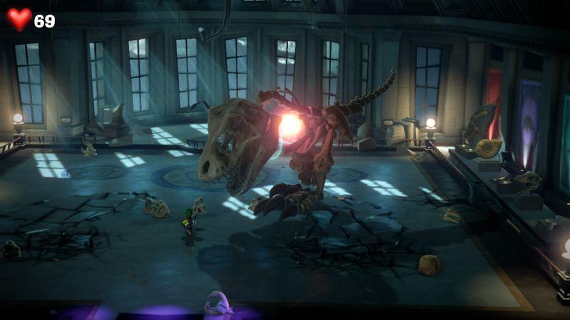 【ルイージマンション3 攻略】9階ミュージアムフロア・恐竜の化石のボスオバケ「ホネスキー」の倒し方