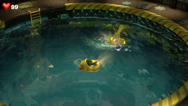 【ルイージマンション3 攻略】地下2階メンテナンスフロア攻略・サメの避け方・アヒルボートで戦うボスの倒し方