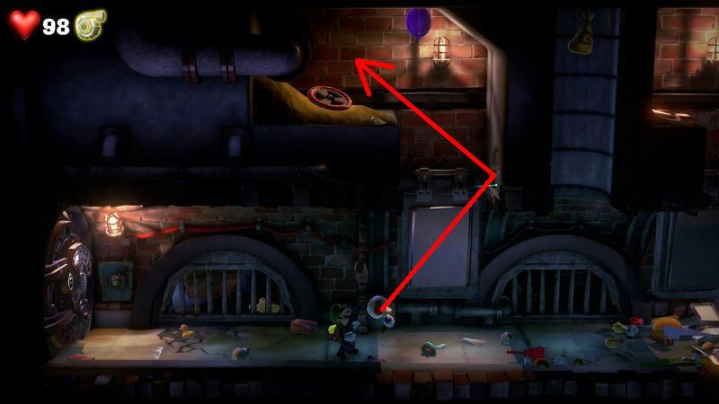 【ルイージマンション3 攻略】地下2階メンテナンスフロア(2回目)ピノキオくんの場所・助け方・強化パーツ探し