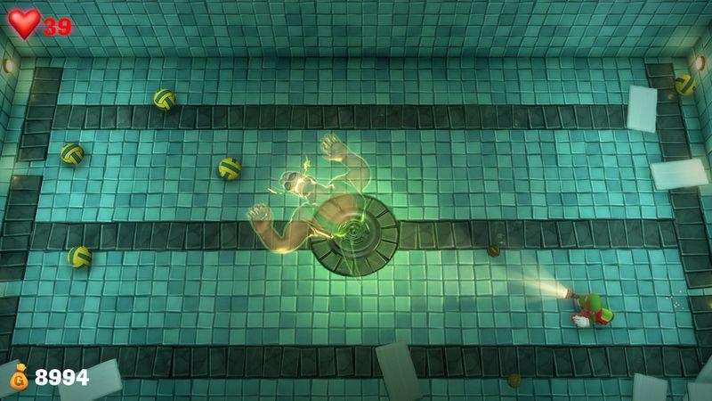【ルイージマンション3 攻略】13階ジムフロア・プールで戦う水球選手のボスオバケの倒し方・オバケネコ捕まえ方