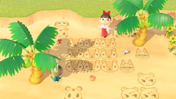 【あつ森】マイデザイン『パッチの砂浜アート』(パッチの砂絵・落書き)/作品ID